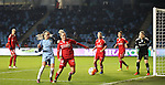 Brondby IF and Manchester City Women during the Champions League last 16 tie, first leg between Manchester City Women and Brondby IF at the Academy Stadium. <br /> <br /> Photo credit should read: Lynne Cameron/Sportimage