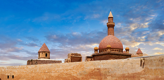 Minarete of the Mosque of the 18th Century Ottoman architecture of the Ishak Pasha Palace (Turkish: İshak Paşa Sarayı) ,  Agrı province of eastern Turkey.