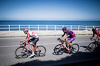 Harm Vanhoucke (BEL/Lotto-Soudal) leading the breakaway group by the seaside<br /> <br /> Stage 14: San Vicente de la Barquer to Oviedo (188km)<br /> La Vuelta 2019<br /> <br /> ©kramon
