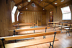 Inside wooden tabernacle chapel, Museum of East Anglian Life, Stowmarket, Suffolk
