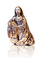 Painted alabaster statue of the Virgin of the annunciation, made around 1495 by Tilman Riemenschneider of Heiligenstadt im Eichsfeld, Germany The statue would have originally bee accompanied by another of the  Gabriel and both would have formed part of an altarpiece. Inv RF 1384,  The Louvre Museum, Paris.