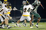 Placentia, CA 05/14/10 - Cole Sutliff (Foothill # 21), Tajee Mobley (MC # 25) and Alex Keuilian (Foothill # 24) in action during the Mira Costa vs Foothill boys lacrosse game for the 2010 Los Angeles / Orange County CIF Championship.