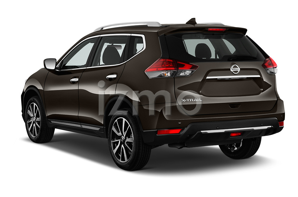 Car pictures of rear three quarter view of 2018 Nissan X-Trail Tekna 5 Door SUV Angular Rear
