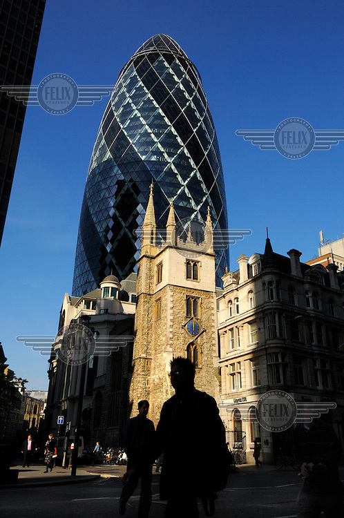 The City of London close to the Swiss Re building, designed by British architect Sir Norman Foster, colloquially known as 'the Gerkin', and officially as 30 St Mary Axe.