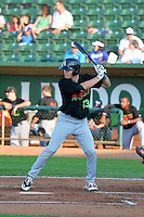 Zach Fisher (13) of the Great Falls Voyagers at bat against the Ogden Raptors in Pioneer League action at Lindquist Field on July 17, 2014 in Ogden, Utah.  (Stephen Smith/Four Seam Images)