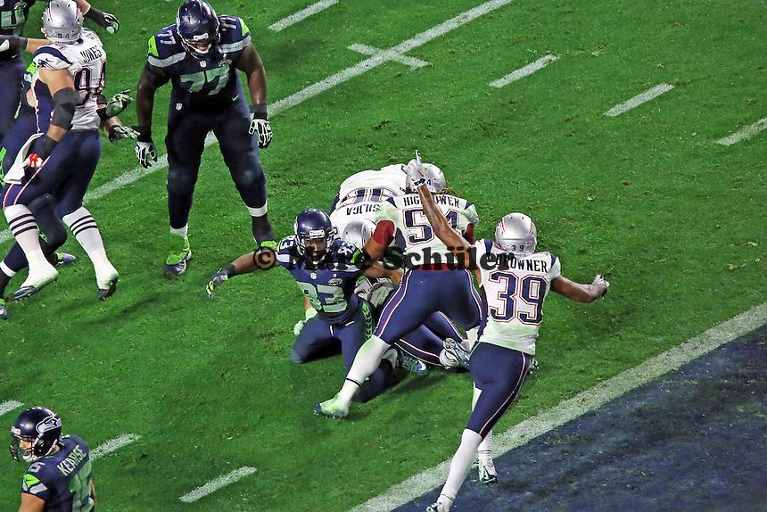Patriots jubeln nach der Interception kurz vor dem Ende - Super Bowl XLIX, Seattle Seahawks vs. New England Patriots, University of Phoenix Stadium, Phoenix