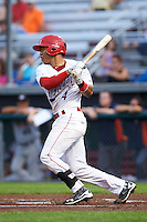 Auburn Doubledays catcher Luis Vilorio (4) at bat during a game against the Tri-City ValleyCats on August 25, 2016 at Falcon Park in Auburn, New York.  Tri-City defeated Auburn 4-3.  (Mike Janes/Four Seam Images)