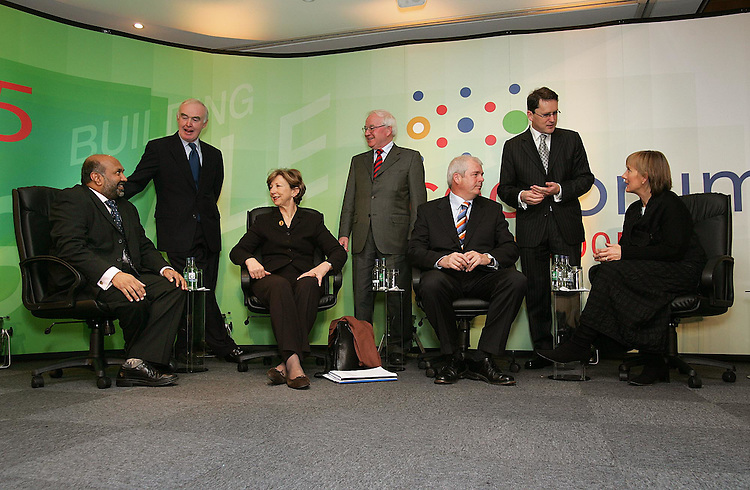 "Raomal Perera, CEO, Valista (left) with Pat Molloy, Chairman, Enterprise Ireland, Olivia O'Leary, Master of Ceremonies, Pat Kenny, Managing Partner Deloitte, Ronan O'Caoimh, CEO, Trinity BioTech, George Lee, Chief Economist, RTE and Julie Sinnamon, Head of Corporate Development, Enterprise Ireland (right), pictured here at the CEO Forum 2005 entitled ""Building Scale, the Global Challenge"" held at the Leopardstown Pavillion, Dublin. Pic. Robbie Reynolds."