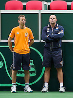 29-01-2014,Czech Republic, Ostrava,  Cez Arena, Davis-cup Czech Republic vs Netherlands, practice,Captain Jan Siemerink(NED) and coach Raymond Knaap(NED)(R)<br /> Photo: Henk Koster