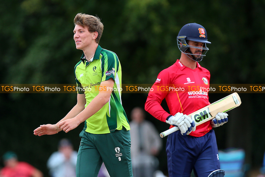 Louis Pickering of Upminster celebrates taking the wicket of Ryan ten Doeschate during Upminster CC vs Essex CCC, Benefit Match Cricket at Upminster Park on 4th September 2016