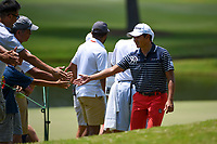 Shugo Imahira (JPN) high fives fans on his way to the tee on 10 during round 4 of the WGC FedEx St. Jude Invitational, TPC Southwind, Memphis, Tennessee, USA. 7/28/2019.<br /> Picture Ken Murray / Golffile.ie<br /> <br /> All photo usage must carry mandatory copyright credit (© Golffile | Ken Murray)