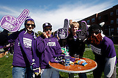 Northwestern freshmen pose for photos in Wildcat Alley before the game against South Dakota.