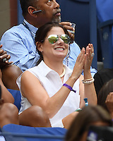 FLUSHING NY- SEPTEMBER 10: Debra Messing is sighted watching Angelique Kerber Vs Karolina Pliskova during the womens finals on Arthur Ashe Stadium at the USTA Billie Jean King National Tennis Center on September 10, 2016 in Flushing Queens. Credit: mpi04/MediaPunch
