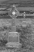 """Celtic cross, Dunquin (in Gaelic, Dún Chaoin, meaning """"Caon's stronghold""""), on the tip of the Dingle Peninsula, County Kerry, Ireland.  1971."""