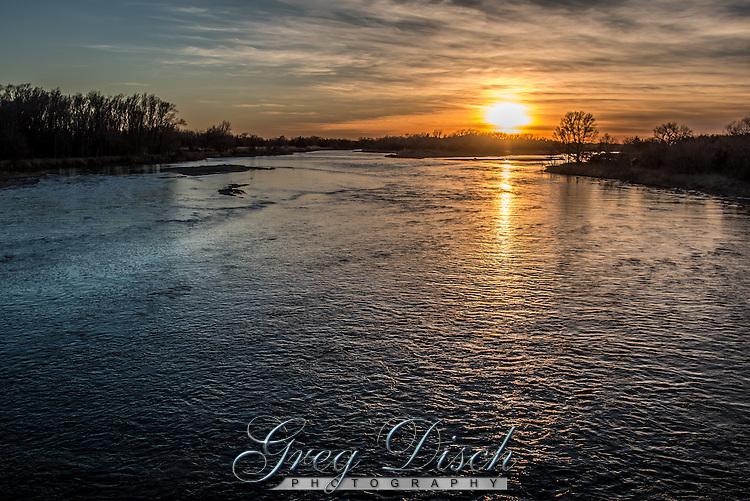 Sunset on the Platte River near Kearney Nebraska, from the hike/bike bridge at the Fort kearny State Recreation Area.