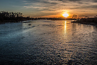 Sunset on the Platte River near Kearney Nebraska, from the hike/bike bridge at the Fort kearny State Recreation Area.