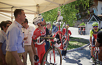 maglia rossa Giacomo Nizzolo (ITA/Trek-Segafredo) double checks his bike-weight together with the UCI ahead of his iTT<br /> <br /> stage 15 (iTT): Castelrotto-Alpe di Siusi 10.8km<br /> 99th Giro d'Italia 2016