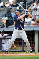 Tampa Bay Rays infielder Elliot Johnson #9 during a game against the New York Yankees at Yankee Stadium on September 21, 2011 in Bronx, NY.  Yankees defeated Rays 4-2.  Tomasso DeRosa/Four Seam Images