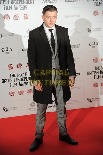 Ben Drew - Plan B.Independent Film Awards, Old Billingsgate Market, London, England..December 9th, 2012.full length black jacket coat grey gray suit.CAP/CAS.©Bob Cass/Capital Pictures.