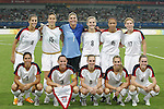 15 August 2008: United States starting eleven.  Front row (l to r): Shannon Boxx (USA), Christie Rampone (USA), Lindsay Tarpley (USA), Heather Mitts (USA), Heather O'Reilly (USA).  Back row (l to r): Carli Lloyd (USA), Kate Markgraf (USA), Hope Solo (USA), Amy Rodriguez (USA), Angela Hucles (USA), Lori Chalupny (USA).  The women's Olympic team of the United States defeated the women's Olympic soccer team of Canada 2-1 after extra time at Shanghai Stadium in Shanghai, China in a Quarterfinal match in the Women's Olympic Football competition.
