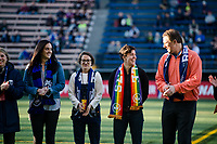 Seattle, WA - April 15th, 2017: Former Seattle Reign FC midfielder, Keelin Winters, is recognized prior to the regular season National Women's Soccer League (NWSL) match between the Seattle Reign FC and Sky Blue FC at Memorial Stadium.