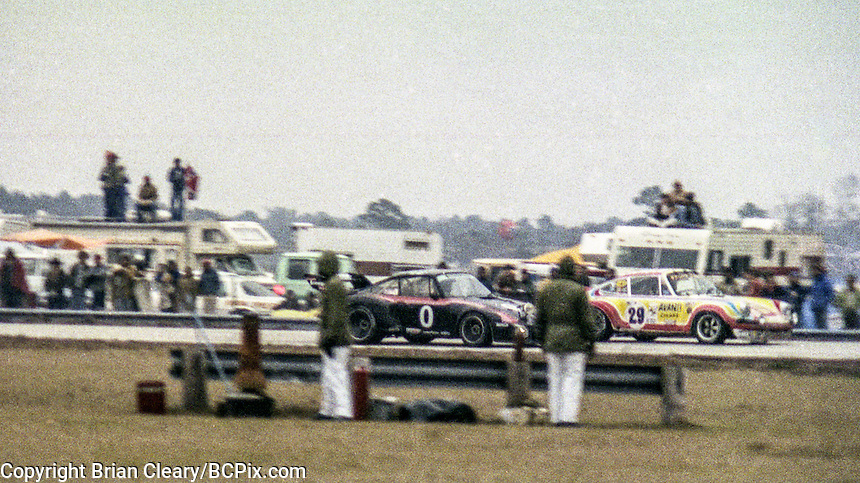 #0 Porsche 935,  Danny Ongais, Ted Field and Milt Minter and #29 Porsche 911S Bill Follmer, Bill Alsup, and Richard Weiss 1978 24 Hours of Daytona, Daytona International Speedway, Daytona Beach, FL, February 5, 1978.  (Photo by Brian Cleary/www.bcpix.com)