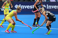 Anita McLaren (right) of the Black Sticks during the Women's Champions Trophy match between New Zealand v Australia at Lee Valley Hockey Centre, Olympic Park, England on 19 June 2016. Photo by Steve McCarthy / PRiME Media Images.