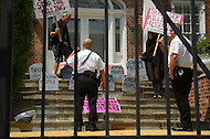 August 12, 2011 (Washington, DC)  Uniformed Secret Service officers responded to a protest on the steps of the Syrian Embassy in Washington. Members of the group Code Pink protested what they consider Syria's human rights violations against its own people.  (Photo: Media Images International)
