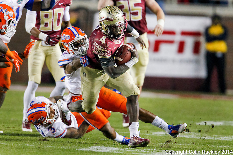 TALLAHASSEE, FL 11/29/14 FSU-UF112914-Florida State's Dalvin Cook runs away from University of Florida defenders during second half action Saturday at Doak Campbell Stadium in Tallahassee. The Seminoles beat the Gators 24-19.<br /> COLIN HACKLEY PHOTO