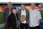 St Johnstone Player of the Year Awards 2014-15.....16.05.15<br /> Ian Grant, Cameron McDonald and Gav Stewart present the We Are Perth Barossa Young Player of the Year Award to Chris Kane<br /> Picture by Graeme Hart.<br /> Copyright Perthshire Picture Agency<br /> Tel: 01738 623350  Mobile: 07990 594431