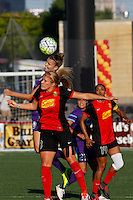 Rochester, NY - Saturday June 11, 2016: Orlando Pride forward Alex Morgan (13), Western New York Flash midfielder Abigail Dahlkemper (13) during a regular season National Women's Soccer League (NWSL) match between the Western New York Flash and the Orlando Pride at Rochester Rhinos Stadium.