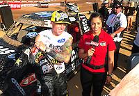 Apr 16, 2011; Surprise, AZ USA; LOORRS driver Brian Deegan (left) is interviewed by Keli Snyder during round 3 at Speedworld Off Road Park. Mandatory Credit: Mark J. Rebilas-.