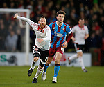 Matt Done of Sheffield Utd tussles with Tommy Rowe of Scunthorpe Utd - English League One - Scunthorpe Utd vs Sheffield Utd - Glandford Park Stadium - Scunthorpe - England - 19th December 2015 - Pic Simon Bellis/Sportimage