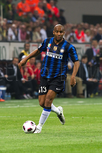 02.04.2011 Alexandre Pato scores two and Antonio Cassano converts a penalty against Inter in what could potentially be a title deciding result. Picture shows Maicon.