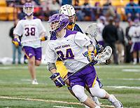 University at Albany Men's Lacrosse defeats Drexel 18-5 on Feb. 24 at Casey Stadium.  Alex Burgmaster(#24). (Photo by Bruce Dudek / Cal Sport Media/Eclipse Sportswire)