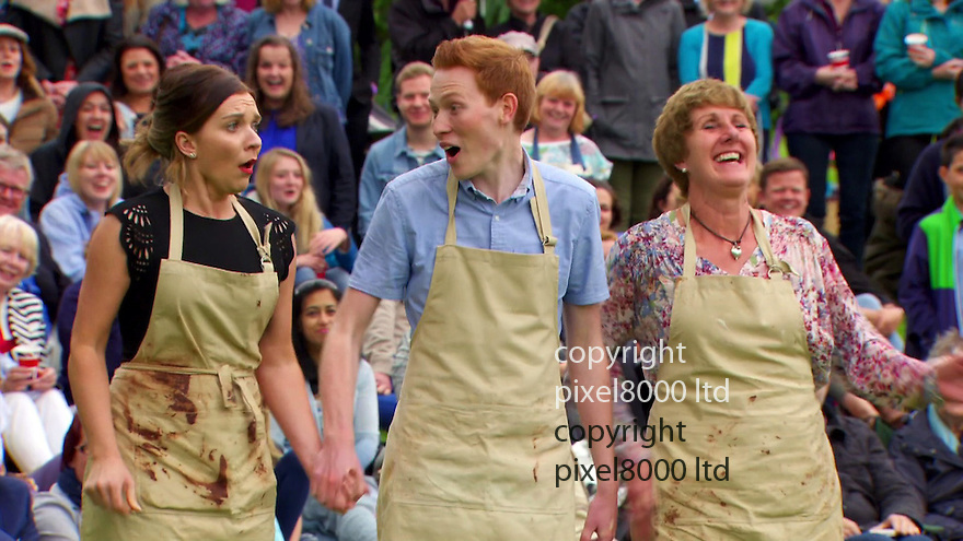 Pic shows: BBC Great British Bake Off final 2016<br /> <br /> <br /> <br /> Candice joy as she<br /> wins the final<br /> beating Andrew and Jane <br /> <br /> Pic supplied by Pixel8000 Ltd