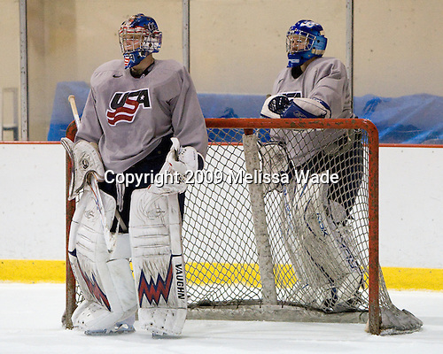 Brandon Maxwell (US - 35), Mike Lee (US - 30) - Team USA practiced on Thursday, August 13, 2009, in the USA (NHL-sized) Rink in Lake Placid, New York, during the 2009 USA Hockey National Junior Evaluation Camp.