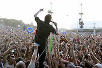 British singer Kaiser Chiefs performs  in the  finish day of spectacles  at Rock in Rio Lisbon festival  at Bela Vista park  on 6 June 2008..