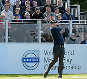 16.10.2014. The London Golf Club, Ash, England. The Volvo World Match Play Golf Championship.  Day 2 group stage matches.  Stephen Gallacher [SCO] on the first tee.