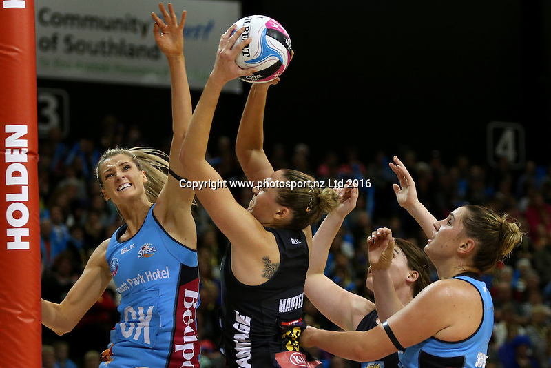 Jane Watson (L) of the Steel and Jo Harten of the Magic compete for the ball during the ANZ Championship netball match between the Southern Steel and Waikato Bay of Plenty Magic, ILT Stadium Southland, Invercargill, Sunday, June 19, 2016. Photo: Dianne Manson / www.photosport.nz