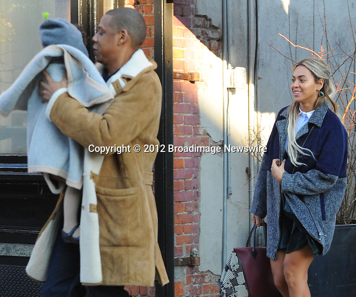 Pictured: Beyonce Knowles, Jay Z, Blue Ivy<br /> Mandatory Credit &copy; Jayme Oak/Broadimage<br /> Jay Z and wife Beyonce Knowles take their precious cargo baby Blue Ivy to lunch in a restaurant in Brooklyn in New York City<br /> <br /> 1/20/14, New York, New York, United States of America<br /> <br /> Broadimage Newswire<br /> Los Angeles 1+  (310) 301-1027<br /> New York      1+  (646) 827-9134<br /> sales@broadimage.com<br /> http://www.broadimage.com<br /> <br /> <br /> Pictured: Beyonce Knowles, Jay Z, Blue Ivy<br /> Mandatory Credit &copy; Jayme Oak/Broadimage<br /> Jay Z and wife Beyonce Knowles take their precious cargo baby Blue Ivy to lunch in a restaurant in Brooklyn in New York City<br /> <br /> 1/20/14, New York, New York, United States of America<br /> Reference: 011914_JKNY_BDG_023<br /> <br /> Broadimage Newswire<br /> Los Angeles 1+  (310) 301-1027<br /> New York      1+  (646) 827-9134<br /> sales@broadimage.com<br /> http://www.broadimage.com