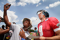 PHILADELPHIA, PA - JULY 30, 2014: Nick Foles during Training Camp at NovaCare Complex.