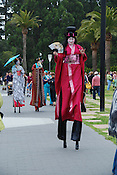 Stiltwalkers dressed as Japanese Geisha girls, Golden Gate Park, San Francisco