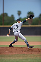 AZL Padres 1 starting pitcher Omar Cruz (10) delivers a pitch during an Arizona League game against the AZL Padres 2 at Peoria Sports Complex on July 14, 2018 in Peoria, Arizona. The AZL Padres 1 defeated the AZL Padres 2 4-0. (Zachary Lucy/Four Seam Images)