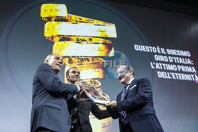 Ivan Basso (ITA) recently recovered from his operation to overcome testicular cancer, receives an award for his long career at the Giro d'Italia 2016 Presentation held at Expo Milano, Milan, Italy. 5th October 2015.<br /> Picture: ANSA/Angelo Carconi | Newsfile