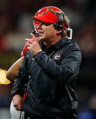 January 8th 2018, Atlanta, GA, USA; Georgia Bulldogs head coach Kirby Smart reacts during the College Football Playoff National Championship Game between the Alabama Crimson Tide and the Georgia Bulldogs on January 8, 2018 at Mercedes-Benz Stadium in Atlanta, GA.