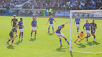 Carlisle United's Tom Parkes clears the ball, from close to his goal, to prevent him scoring an own goal<br /> <br /> Photographer Chris Vaughan/CameraSport<br /> <br /> The EFL Sky Bet League Two - Carlisle United v Lincoln City - Friday 19th April 2019 - Brunton Park - Carlisle<br /> <br /> World Copyright © 2019 CameraSport. All rights reserved. 43 Linden Ave. Countesthorpe. Leicester. England. LE8 5PG - Tel: +44 (0) 116 277 4147 - admin@camerasport.com - www.camerasport.com