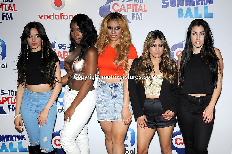 NON EXCLUSIVE PICTURE: PAUL TREADWAY / MATRIXPICTURES.CO.UK<br /> PLEASE CREDIT ALL USES<br /> <br /> WORLD RIGHTS<br /> <br /> American girl group Fifth Harmony attend The Capital FM Summertime Ball at Wembley Stadium in London.<br /> <br /> JUNE 6th 2015<br /> <br /> REF: PTY 151822