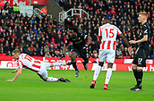 2nd December 2017, bet365 Stadium, Stoke-on-Trent, England; EPL Premier League football, Stoke City versus Swansea City;  Wilfried Bony of Swansea City stoops to head in the opening goal of the game in the second minute