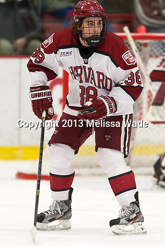 Conor Morrison (Harvard - 38) - The Harvard University Crimson defeated the Colgate University Raiders 4-1 (EN) on Friday, February 15, 2013, at the Bright Hockey Center in Cambridge, Massachusetts.